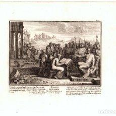 Arte: GRABADO RELIGIOSO JOSIAS Y EL LIBRO DE LA LEY. SIGLO XVIII. Lote 182382913
