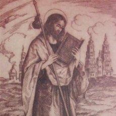 Arte: GRABADO AL AGUAFUERTE DE SANTIAGO APÓSTOL. ENMARCADO. Lote 182493313