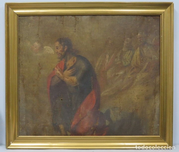 JESUS ORA EN EL HUERTO DE GETSEMANI. OLEO S/ LIENZO. SIGLO XVII (Arte - Arte Religioso - Pintura Religiosa - Oleo)