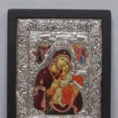 Arte: PRECIOS ICONO PINTADO A MANO Y PLATA. SIGLO XX. Lote 182537306