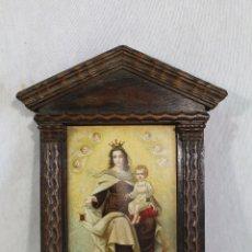 Arte: CUADRO RETABLO VIRGEN DEL CARMEN EN MADERA Y LAMINA. Lote 182554836