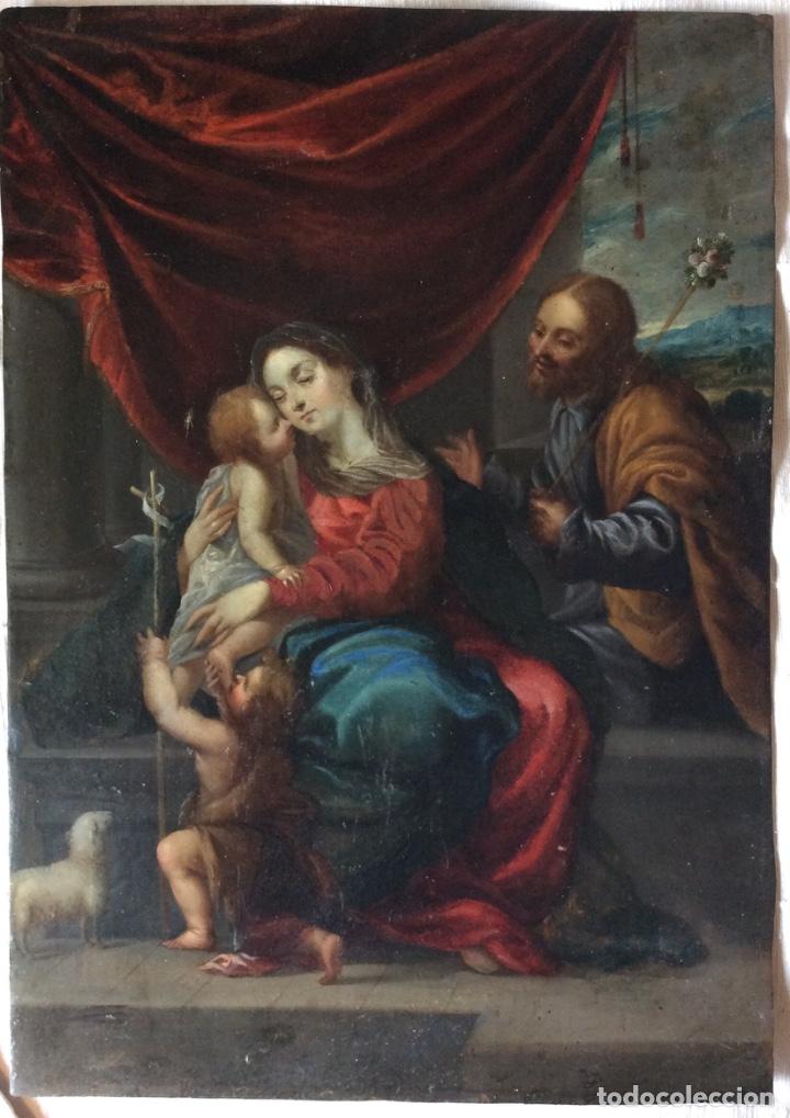 SAGRADA FAMILIA ,ÓLEO SOBRE COBRE SIGLO XVII-NATIVIDAD-FAMIGLIA SACRA SCUOLA ITALIANA XVII SECOLO (Arte - Arte Religioso - Pintura Religiosa - Oleo)