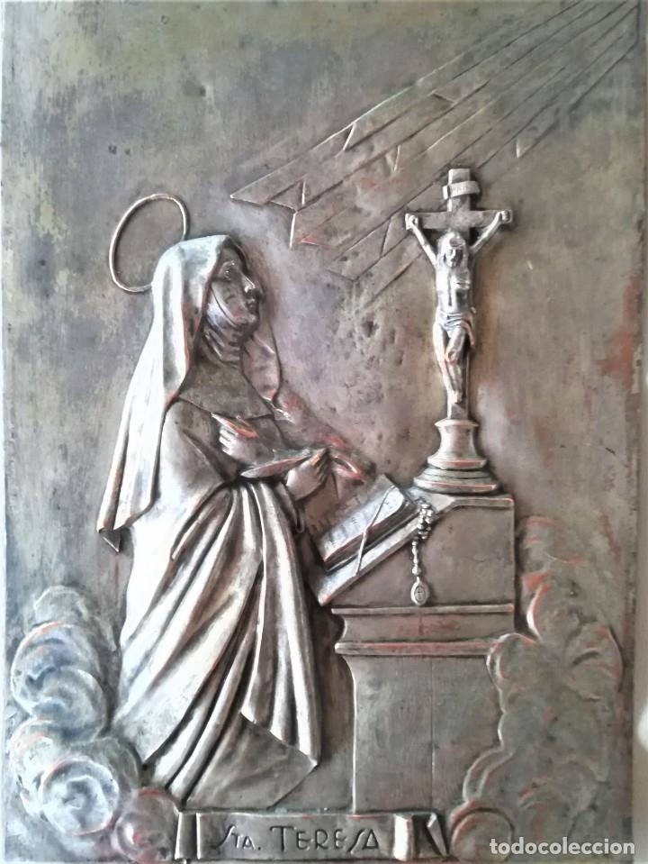 Arte: GRABADO METALICO EN RELIEVE,SIGLO XIX,SANTA TERESA DE JESUS O AVILA,OBRA DE ARTE,MISTICA RELIGIOSA - Foto 2 - 182609927