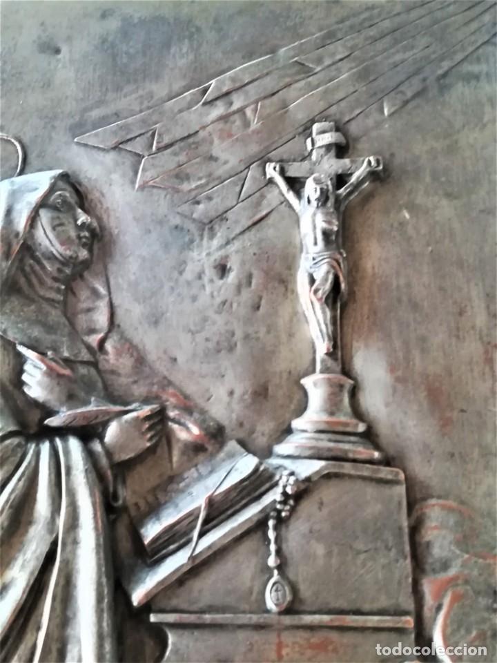 Arte: GRABADO METALICO EN RELIEVE,SIGLO XIX,SANTA TERESA DE JESUS O AVILA,OBRA DE ARTE,MISTICA RELIGIOSA - Foto 4 - 182609927