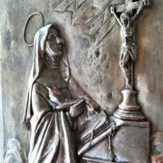 Arte: GRABADO METALICO EN RELIEVE,SIGLO XIX,SANTA TERESA DE JESUS O AVILA,OBRA DE ARTE,MISTICA RELIGIOSA. Lote 182609927