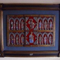 Arte: ESPECTACULAR FRONTAL, ORFEBRERÍA PLATA Y ESMALTE AL FUEGO (CRISTAL - CLOISSONÉ) 107 X 77 CM. Lote 182685131