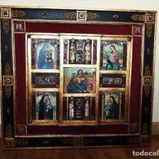 Arte: FRONTAL, OLEO SOBRE MADERA, PLATA, TALLA HUESO, HERRAJES, ETC (ÚNICO) 92X83 CM. Lote 182689515