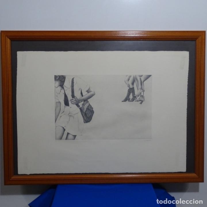 """GRABADO AGUAFUERTE DE RUDOLF HÄSLER.SERIE """"RAMBLAS 73-75"""".BIEN ENMARCADO.36/100 (Arte - Arte Religioso - Grabados)"""