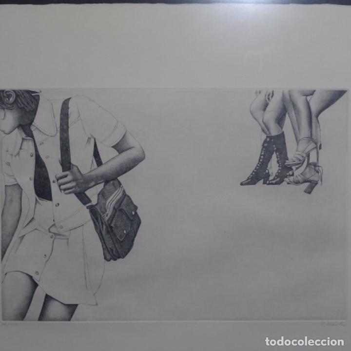 """Arte: Grabado aguafuerte de rudolf häsler.serie """"ramblas 73-75"""".bien enmarcado.36/100 - Foto 2 - 182730121"""