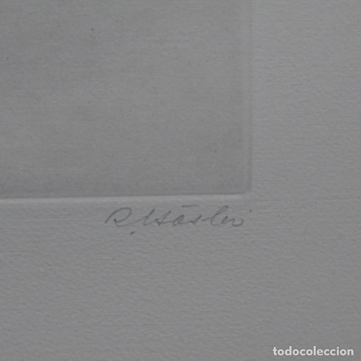 """Arte: Grabado aguafuerte de rudolf häsler.serie """"ramblas 73-75"""".bien enmarcado.36/100 - Foto 10 - 182730121"""
