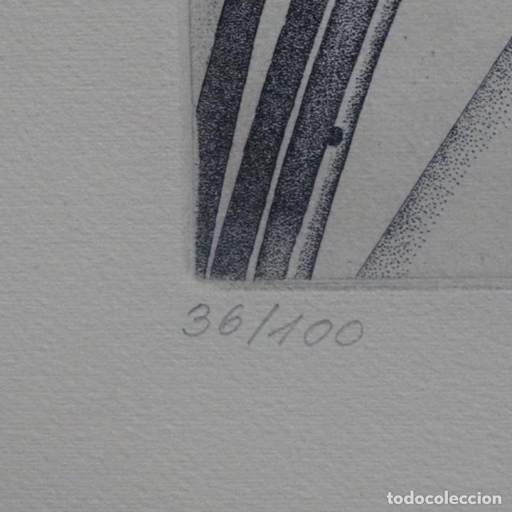 """Arte: Grabado aguafuerte de rudolf häsler.serie """"ramblas 73-75"""".bien enmarcado.36/100 - Foto 10 - 182730198"""