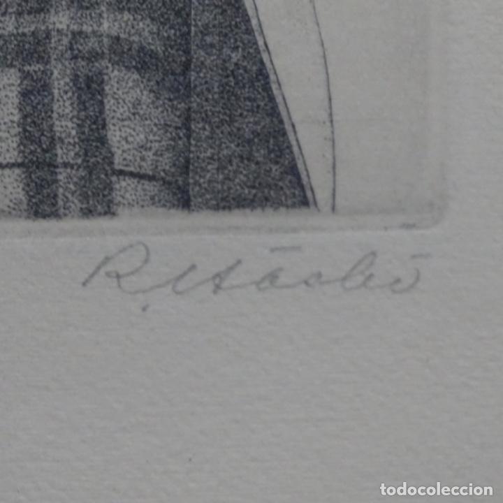 """Arte: Grabado aguafuerte de rudolf häsler.serie """"ramblas 73-75"""".bien enmarcado.36/100 - Foto 10 - 182730325"""