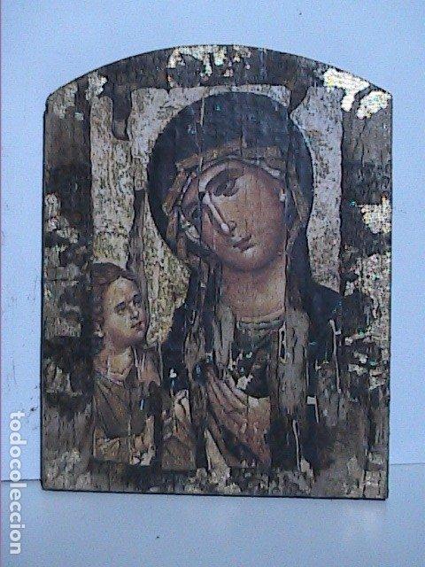 EXCELENTE ICONO BIZANTINO VIRGEN ODIGHITRIA CON NIÑO JESÚS. (Arte - Arte Religioso - Iconos)