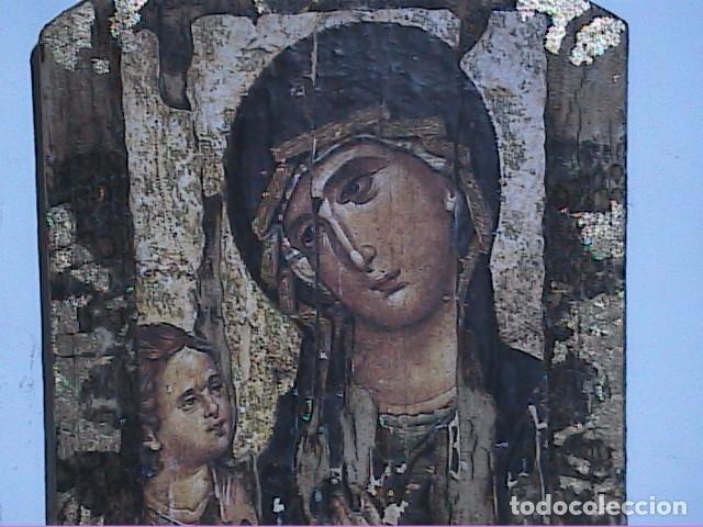 Arte: EXCELENTE ICONO BIZANTINO VIRGEN ODIGHITRIA CON NIÑO JESÚS. - Foto 2 - 182740003