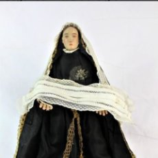 Arte: VIRGEN CAPIPOTA S XIX TALLA DE VESTIR DOLOROSA HILOS DE ORO TALLA DE MADERA VESTIMENTAS DE ORIGEN . Lote 150936934