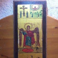 Arte: ANTIGUO RETABLO RELIGIOSO SOBRE MADER. Lote 182822916