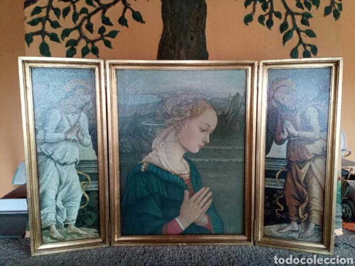 PRECIOSO CUADRO TRÍPTICO RELIGIOSO (Arte - Arte Religioso - Trípticos)