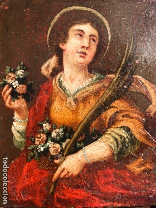 OLEO SOBRE COBRE VIRGEN, SANTO / SANTA 8X10,5 CM SIGLO XVIII -XIX (Arte - Arte Religioso - Pintura Religiosa - Oleo)