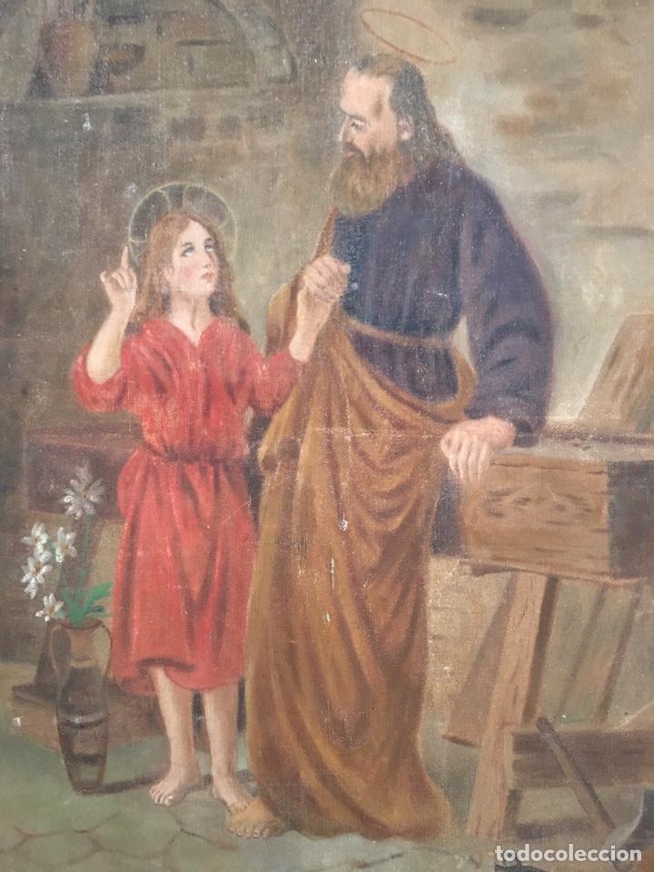 Arte: PINTURA RELIGIOSA ANTIGUA - SAN JOSE Y EL NIÑO JESUS - FIRMADO - RAFAEL ROMEU ? - Foto 2 - 182905098