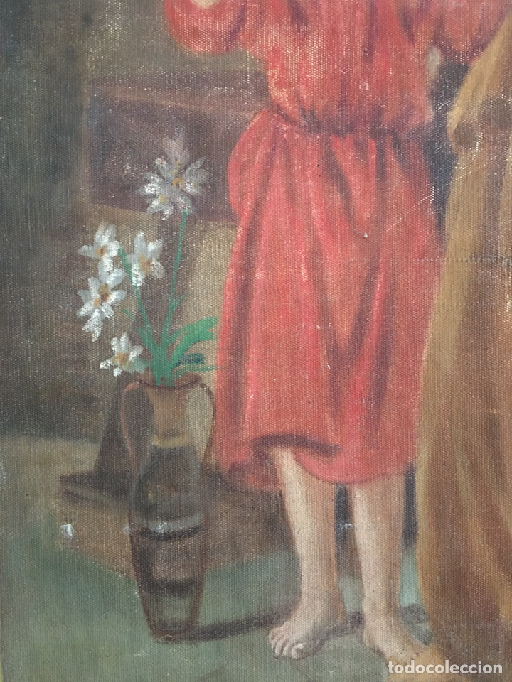 Arte: PINTURA RELIGIOSA ANTIGUA - SAN JOSE Y EL NIÑO JESUS - FIRMADO - RAFAEL ROMEU ? - Foto 3 - 182905098