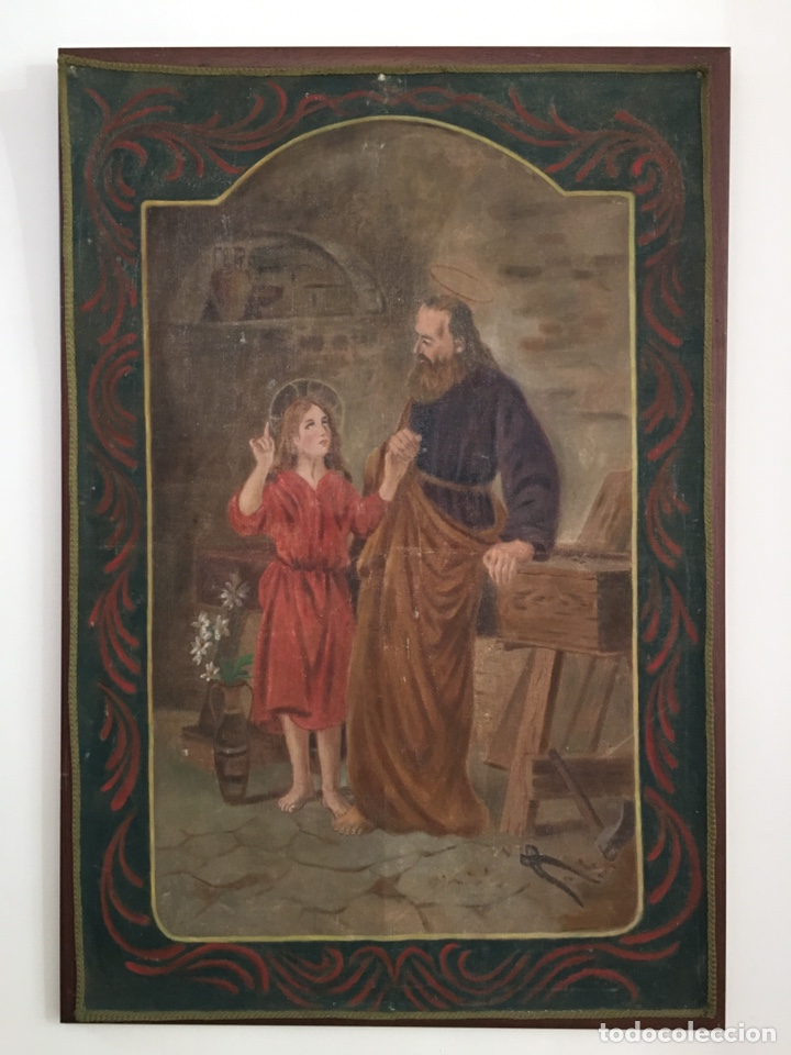 PINTURA RELIGIOSA ANTIGUA - SAN JOSE Y EL NIÑO JESUS - FIRMADO - RAFAEL ROMEU ? (Arte - Arte Religioso - Pintura Religiosa - Oleo)