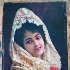 Arte: ADOLFO AGUILA Y ACOSTA, RETRATO DE JOVEN A LA MANTILLA SOBRE TABLA DE CAOBA. Lote 182983066