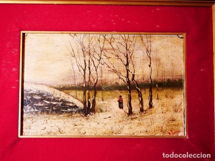 PINTURA SOBRE TABLA FINALES SIGLO XIX. AUTOR B. LÓPEZ (Arte - Arte Religioso - Pintura Religiosa - Oleo)