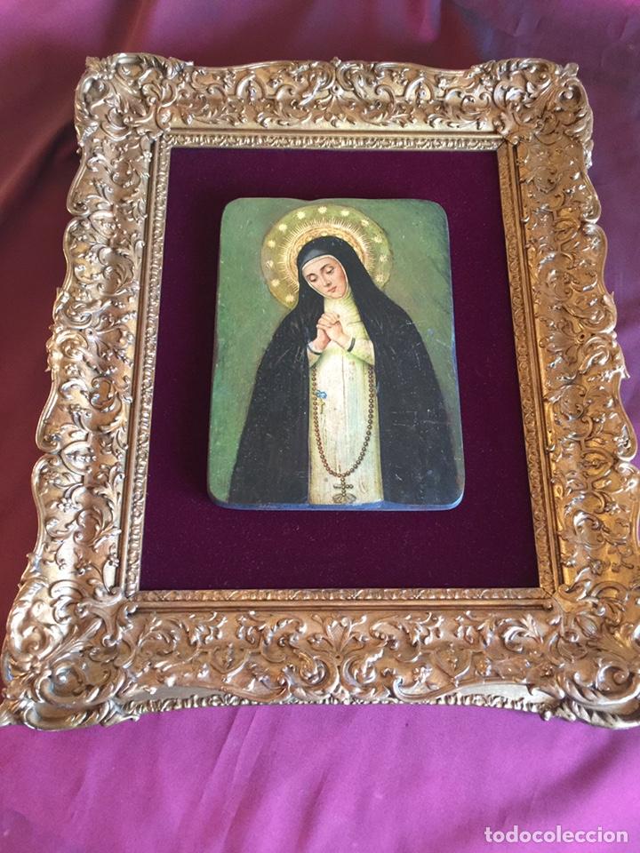 Arte: Maravilloso antiguo marco con retablo pintado - Foto 3 - 201793298