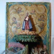 Arte: ANTIGUO RETABLO O ALTAR, APARICION DE LA VIRGEN A UN PASTOR DORMIDO. Lote 183026936