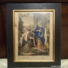 Arte: LA VISITACIÓN DE LA VIRGEN A SU PRIMA SANTA ISABEL, GRABADO ILUMINADO A MANO Y ENMARCADO SIGLO XIX. Lote 183094515