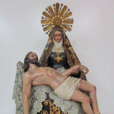 Arte: PRECIOSA VIRGEN DE LA PIEDAD - TALLA DE MADERA POLICROMADA Y DORADA - 78 CM ALTURA - S. XIX. Lote 183228517