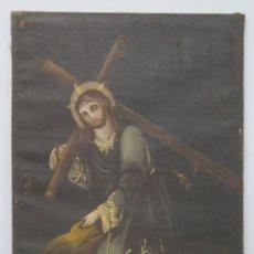 Arte: BONITO JESUS NAZARENO CON LA CRUZ A CUESTAS. OLEO S/ LIENZO. SIGLO XVIII-XIX. Lote 183280158