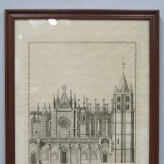 Arte: GRABADO ORTOGRAFIA DE CATEDRAL DE LEON. MANUEL NAVARRO. 1790. Lote 183282575