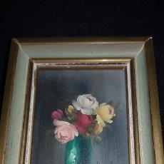 Arte: CUADRO DE JARRON CON FLORES FIRMA ILEGIBLE. Lote 183296518