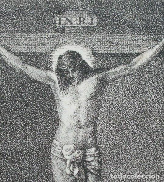 ANTIGUO GRABADO RELIGIOSO DE CRISTO CRUCIFICADO (SIGLO XIX) (Arte - Arte Religioso - Grabados)