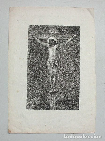 Arte: Antiguo grabado religioso de Cristo crucificado (Siglo XIX) - Foto 2 - 183315975