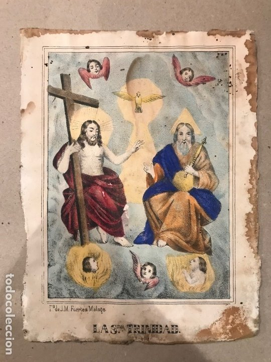 LITOGRAFÍA COLOREADA DE LA SMA TRINIDAD - J. M. FUERTES. MÁLAGA. SIGLO XIX (Arte - Arte Religioso - Litografías)