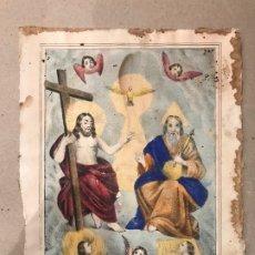 Arte: LITOGRAFÍA COLOREADA DE LA SMA TRINIDAD - J. M. FUERTES. MÁLAGA. SIGLO XIX. Lote 183327548