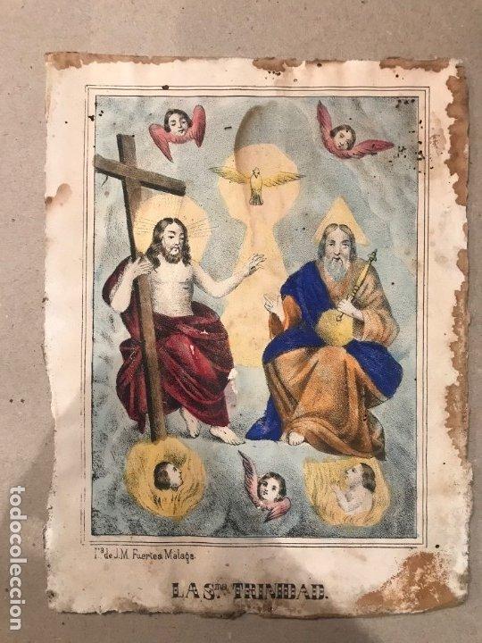 Arte: LITOGRAFÍA COLOREADA DE LA SMA TRINIDAD - J. M. FUERTES. MÁLAGA. SIGLO XIX - Foto 2 - 183327548