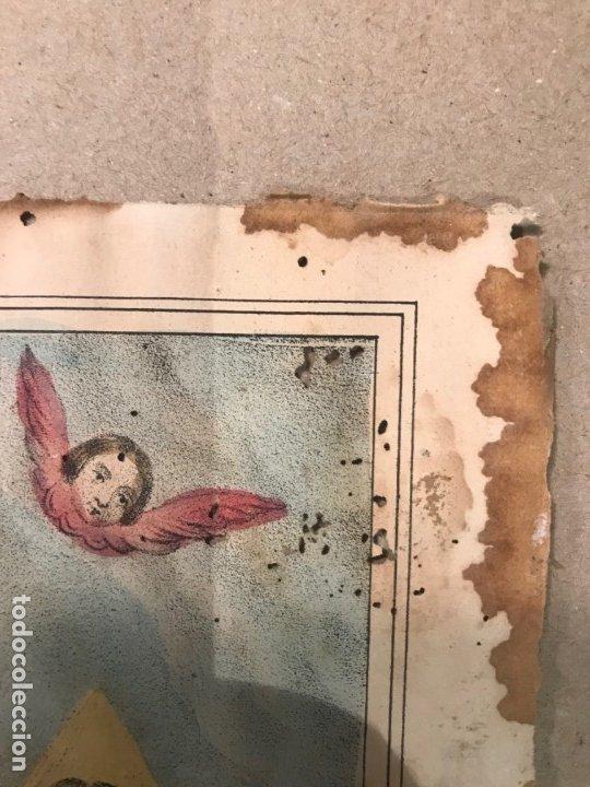 Arte: LITOGRAFÍA COLOREADA DE LA SMA TRINIDAD - J. M. FUERTES. MÁLAGA. SIGLO XIX - Foto 3 - 183327548