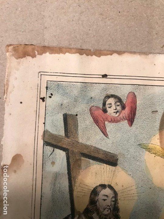Arte: LITOGRAFÍA COLOREADA DE LA SMA TRINIDAD - J. M. FUERTES. MÁLAGA. SIGLO XIX - Foto 4 - 183327548