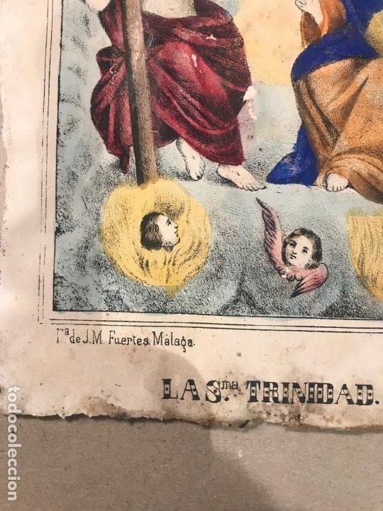 Arte: LITOGRAFÍA COLOREADA DE LA SMA TRINIDAD - J. M. FUERTES. MÁLAGA. SIGLO XIX - Foto 6 - 183327548