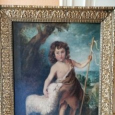 Arte: SAN JUAN BAUTISTA NIÑO OLEO SOBRE LIENZO ESCUELA MURILLO SIGLO XVIII. Lote 183343681