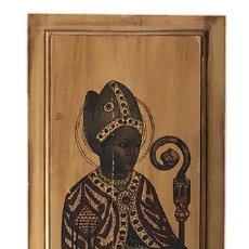 Arte: TABLILLA DE MADERA CON IMPRESION DE IMAGEN RELIGIOSA, PARECE SER UN PAPA . Lote 183346060