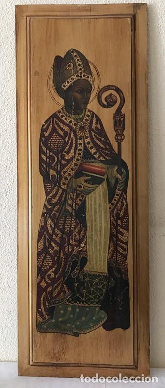 Arte: Tablilla de madera con impresion de imagen religiosa, parece ser un papa - Foto 2 - 183346060