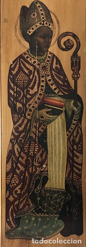 Arte: Tablilla de madera con impresion de imagen religiosa, parece ser un papa - Foto 3 - 183346060