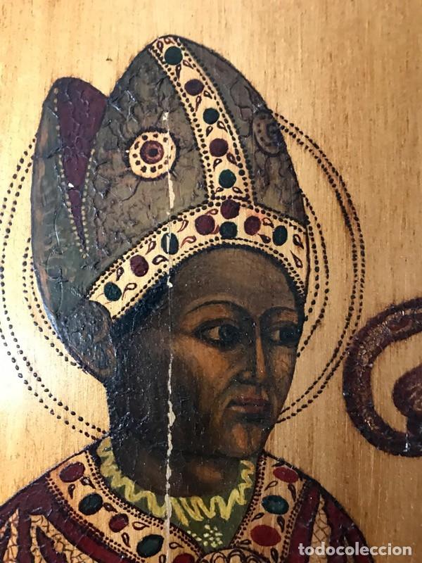Arte: Tablilla de madera con impresion de imagen religiosa, parece ser un papa - Foto 4 - 183346060