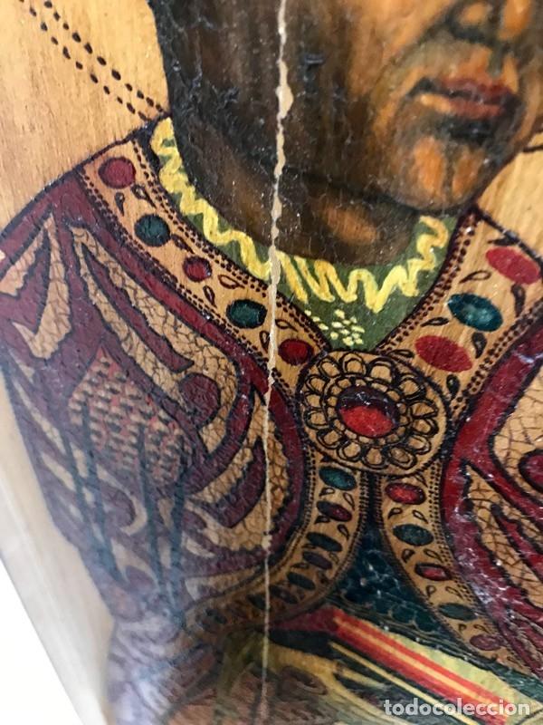 Arte: Tablilla de madera con impresion de imagen religiosa, parece ser un papa - Foto 5 - 183346060