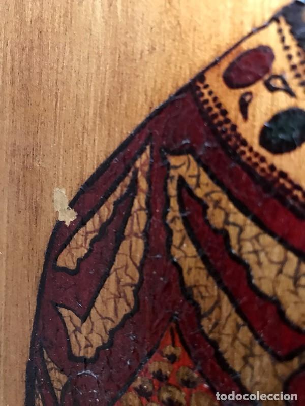 Arte: Tablilla de madera con impresion de imagen religiosa, parece ser un papa - Foto 6 - 183346060