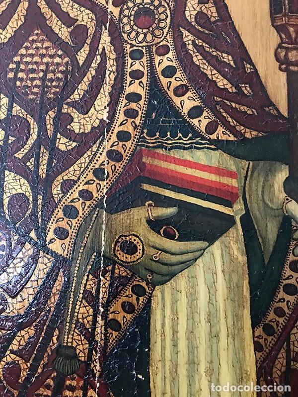 Arte: Tablilla de madera con impresion de imagen religiosa, parece ser un papa - Foto 8 - 183346060